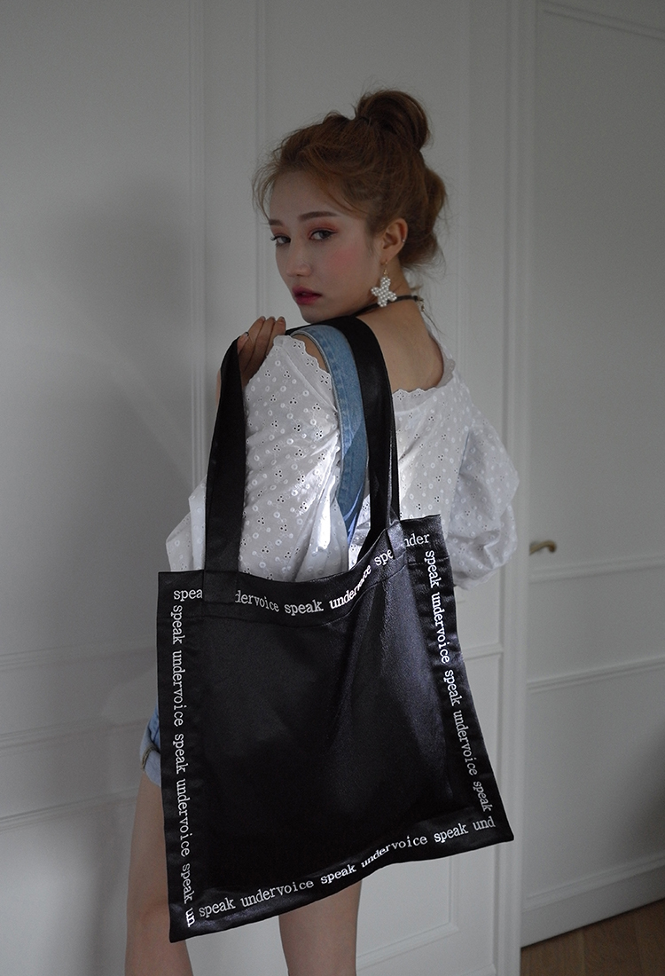 [Sold Out] speak undervoice-black lettering bag