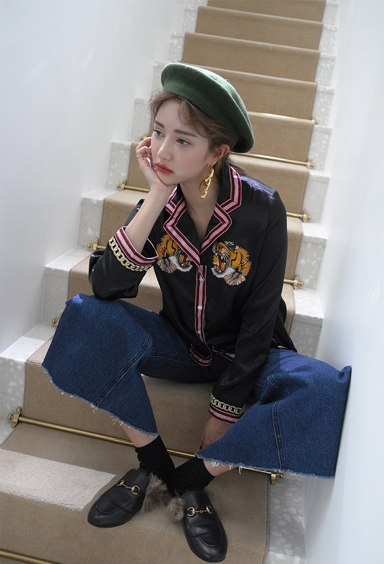 [Sold Out] speak undervoice-tiger champion blouse/black