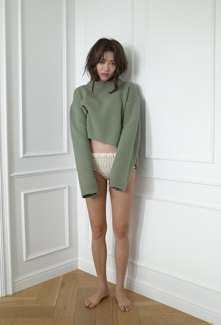 [Sold Out] round wide wool knit/green
